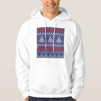 Blue  Red and White Christmas Tree Knitted Pattern Pullover