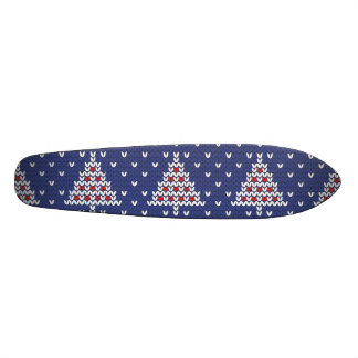 Blue  Red and White Christmas Tree Knitted Pattern Skateboard