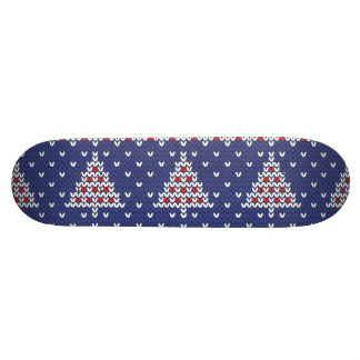 Blue  Red and White Christmas Tree Knitted Pattern Skateboard Deck
