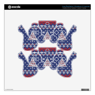 Blue  Red and White Christmas Tree Knitted Pattern Skin For PS3 Controller