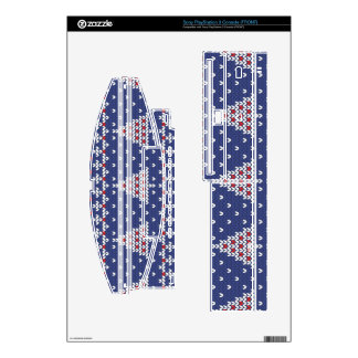 Blue  Red and White Christmas Tree Knitted Pattern Skin For The PS3 Console
