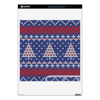 Blue  Red and White Christmas Tree Knitted Pattern Skins For PS3 Slim