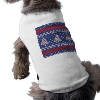 Blue  Red and White Christmas Tree Knitted Pattern Tee