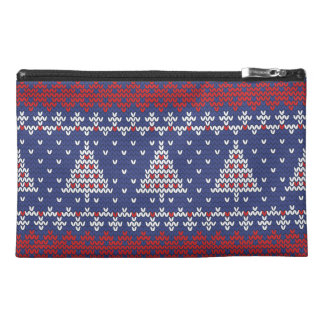 Blue  Red and White Christmas Tree Knitted Pattern Travel Accessory Bag