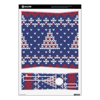 Blue  Red and White Christmas Tree Knitted Pattern Xbox 360 S Skin