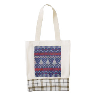 Blue  Red and White Christmas Tree Knitted Pattern Zazzle HEART Tote Bag
