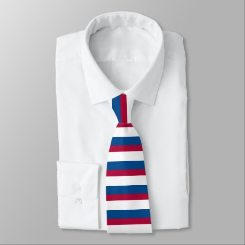 Blue Red and White Horizontally-Striped Tie