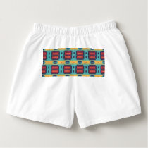Blue red and yellow shapes pattern boxers