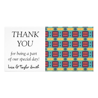 Blue red and yellow shapes pattern card