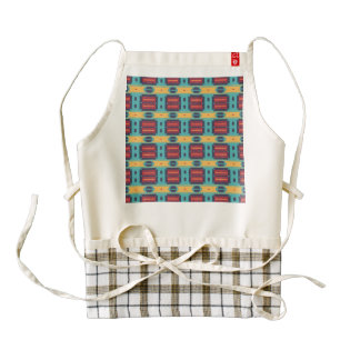 Blue red and yellow shapes pattern zazzle HEART apron