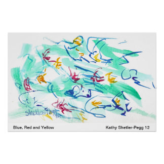 Blue, Red and Yellow Watercolor abstract art Poster