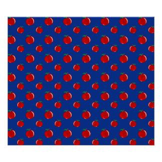 Blue red apple pattern poster