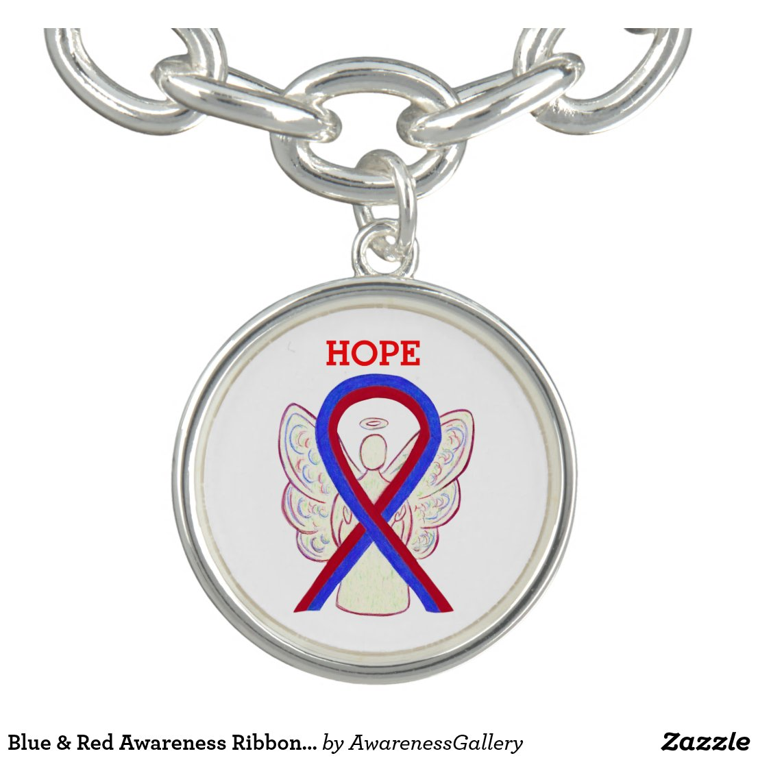 Blue & Red Awareness Ribbon Angel Charm Bracelet