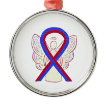 Blue & Red Awareness Ribbon Angel Holiday Ornament
