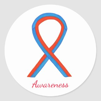 Blue & Red Awareness Ribbon Custom Sticker Decals