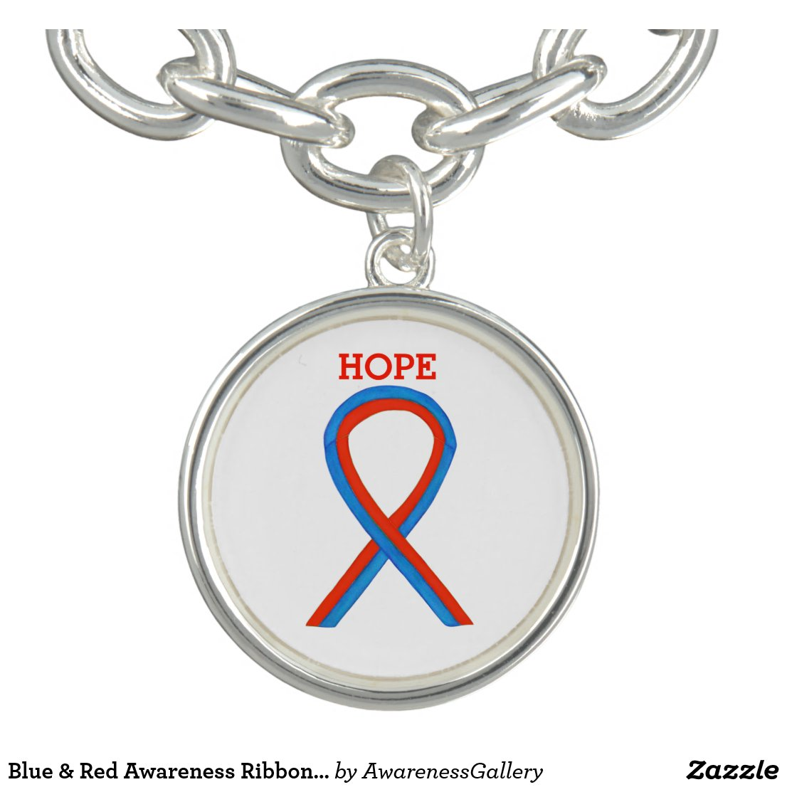 Blue & Red Awareness Ribbon Jewelry Charm Bracelet