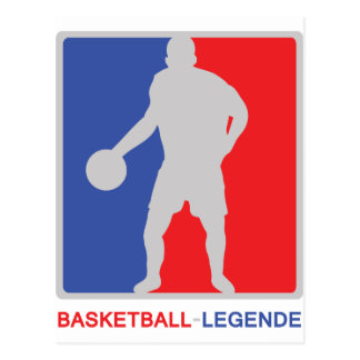 blue red basketball legend icon postcard