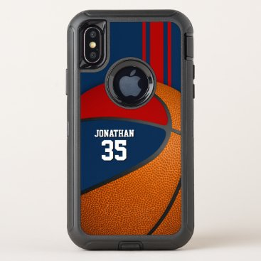 blue red basketball varsity team colors boys OtterBox defender iPhone x case