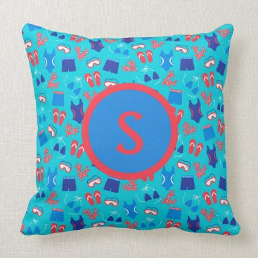 Beach Themed Blue Red Bathing Suits Snorkeling Gear Monogram Throw Pillow