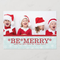 Blue Red Be Merry Modern Holiday Photo Card