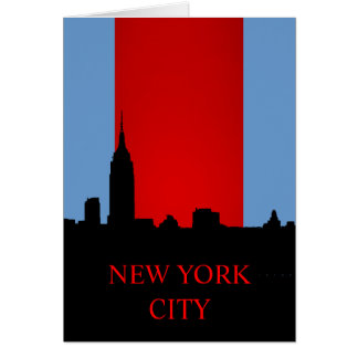 Blue Red Black New York Silhouette Card