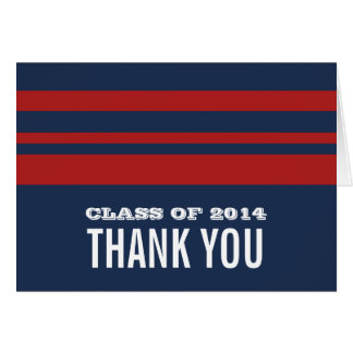Blue/Red Bold Stripes Grad Thank You Card