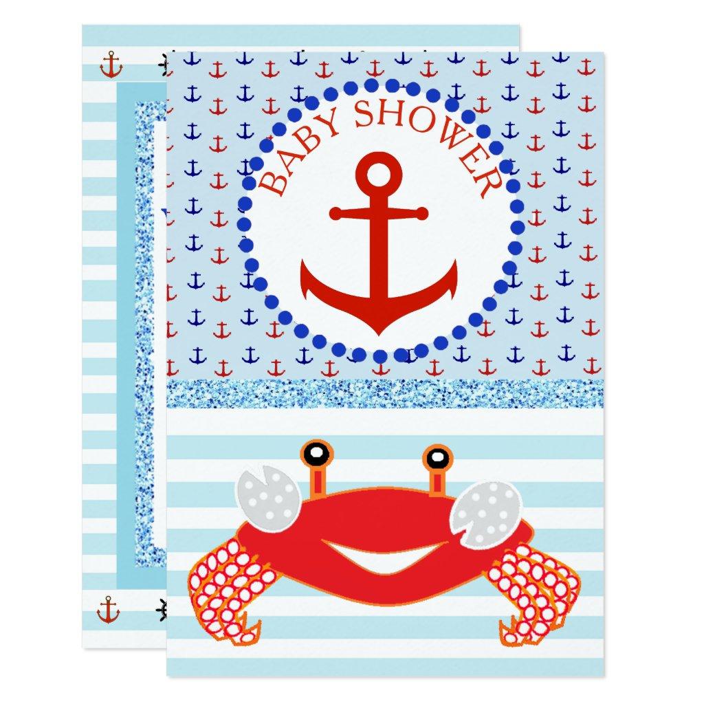 Blue & Red Boy Crab Beachy Baby Shower Invitation
