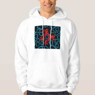 Blue & Red Butterfly Heart Design Hoodie
