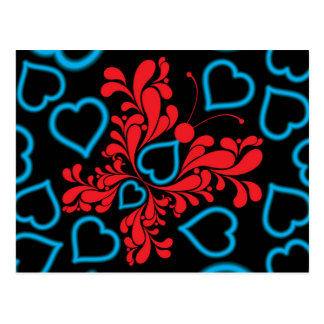 Blue & Red Butterfly Heart Design Postcard