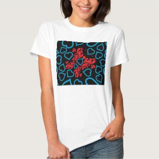 Blue & Red Butterfly Heart Design T-Shirt