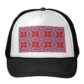 blue red check trucker hat