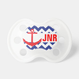 Blue Red Chevron Nautical Anchor Monogram Pacifier