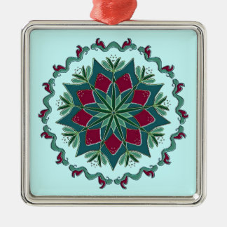 Blue Red Christmas Metal Ornament