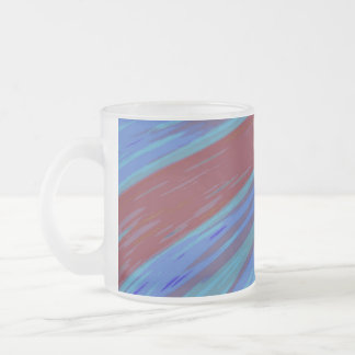 Blue Red Color Swish Abstract Frosted Glass Coffee Mug