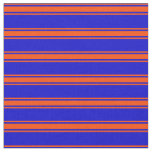 [ Thumbnail: Blue & Red Colored Lines Pattern Fabric ]