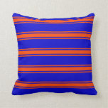 [ Thumbnail: Blue & Red Colored Lines Pattern Throw Pillow ]