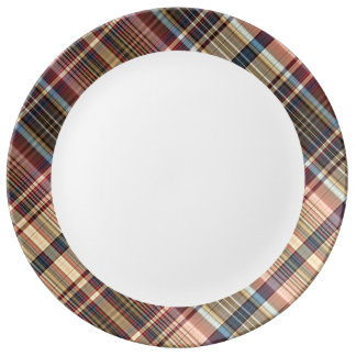 Blue red cream plaid porcelain plate
