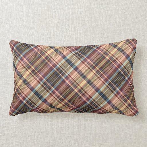 Red Plaid Decorative Pillows : Blue red cream plaid throw pillows Zazzle