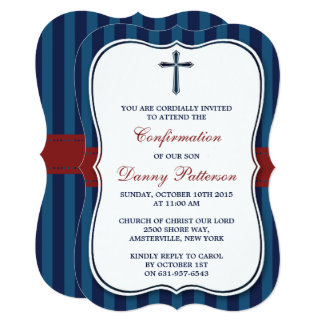 Blue & Red Cross Holy Communion Or Confirmation Card