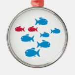 Blue Red Fish Ornaments