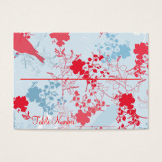Blue & Red Floral Wedding Table Number Cards at Zazzle