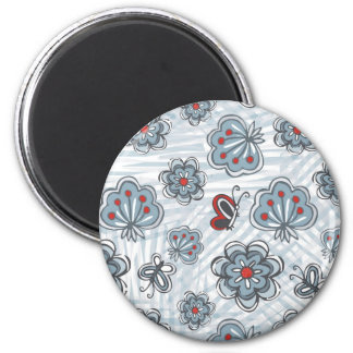 blue & red flowers & butterflies on gray scratches 2 inch round magnet