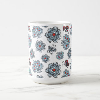 blue & red flowers & butterflies on white coffee mug
