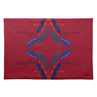 Blue red Folk ornaments Cloth Placemat