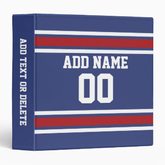 Blue Red Football Jersey Custom Name Number 3 Ring Binder