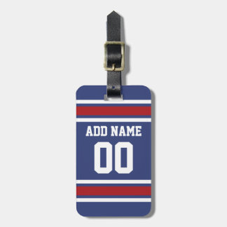 Blue Red Football Jersey Custom Name Number Bag Tags