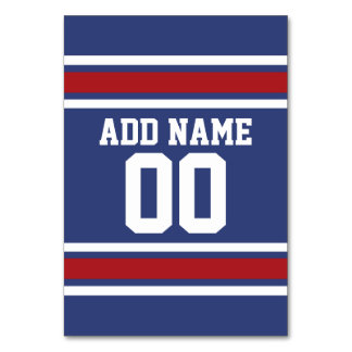 Blue Red Football Jersey Custom Name Number Card