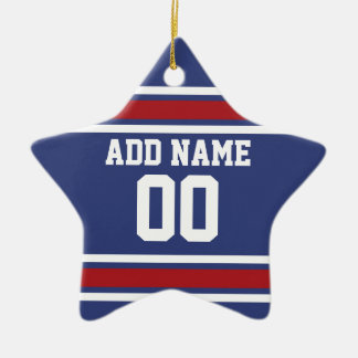 Blue Red Football Jersey Custom Name Number Double-Sided Star Ceramic Christmas Ornament