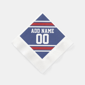 Blue Red Football Jersey Custom Name Number Paper Napkin
