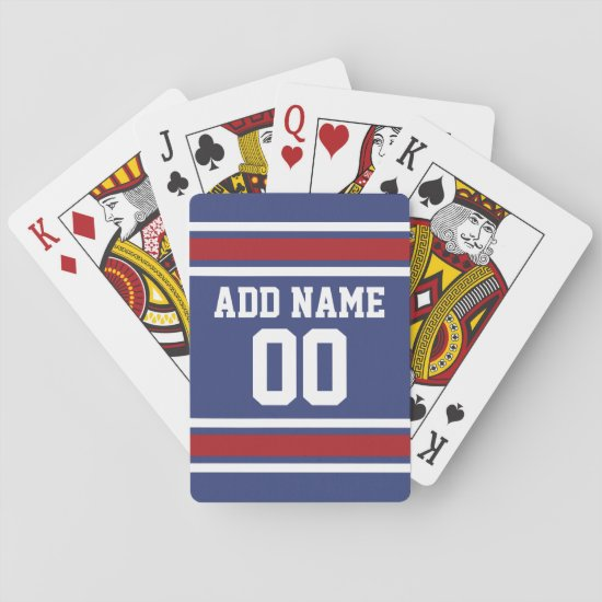 Blue Red Football Jersey Custom Name Number Playing Cards